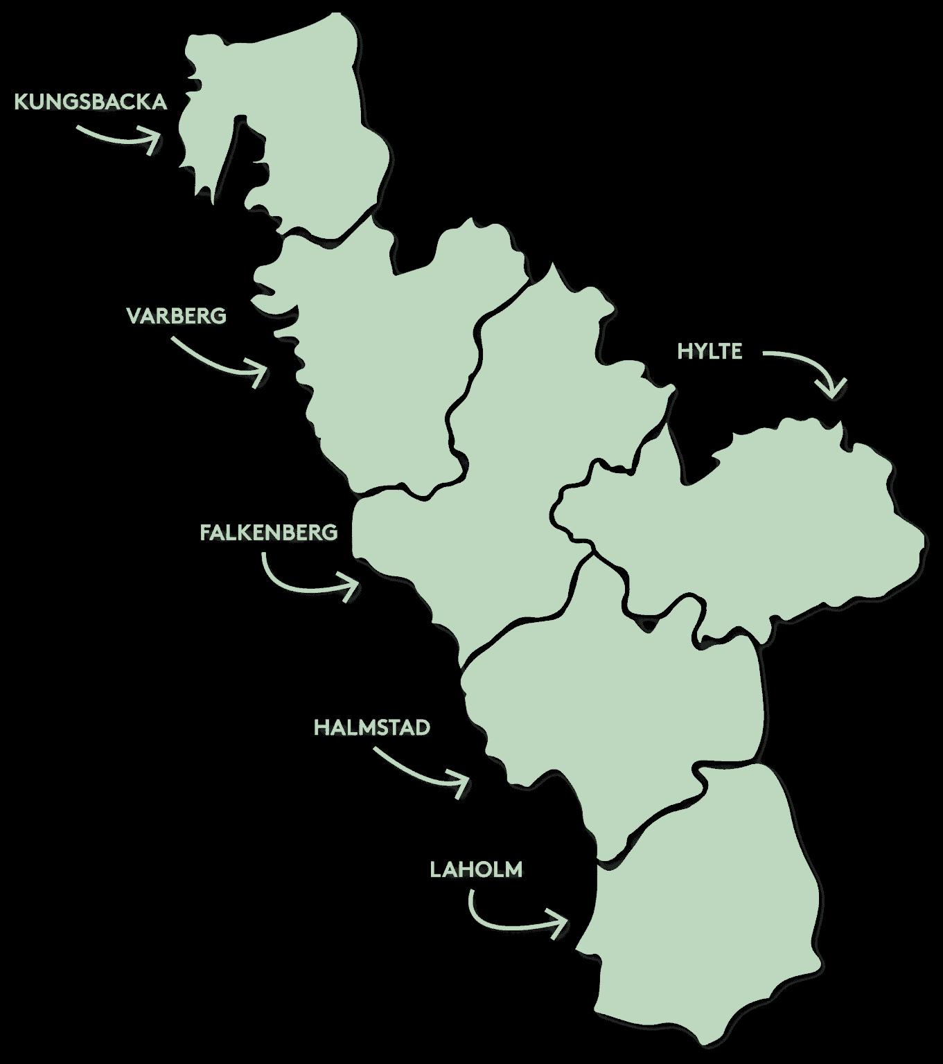 Karta över Halland